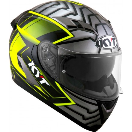 Casco integrale moto KYT Falcon 2 Armor giallo yellow helmet casque