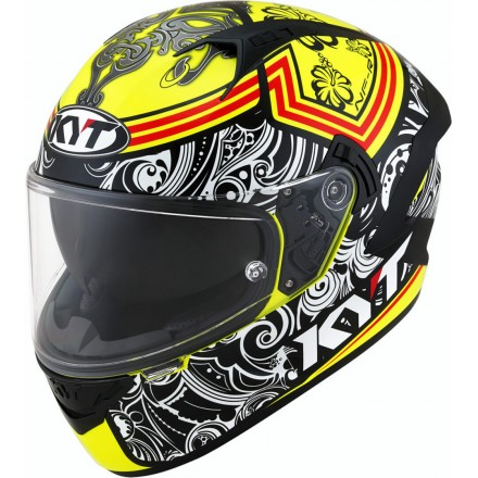 Casco integrale moto KYT NF-R Steel Flower giallo yellow helmet casque