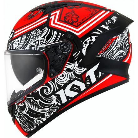 Casco integrale moto KYT NF-R Steel Flower rosso red helmet casque