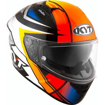 Casco integrale moto KYT NF-R Runs arancione blu bianco orange white helmet casque