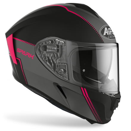 Casco integrale donna moto Airoh Spark Flow nero rosa black pink SPF54 lady woman helmet casque