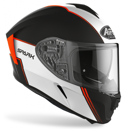 Casco integrale moto Airoh Spark Flow bianco nero arancione opaco white black orange mat SPF32 helmet casque