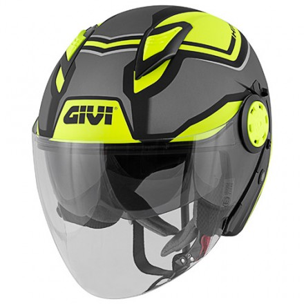 Casco Givi 123 Stratos titanio opaco nero giallo matt titanium black yellow Helmet casque