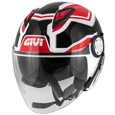 Casco Givi 123 Stratos bianco nero rosso white black red Helmet casque