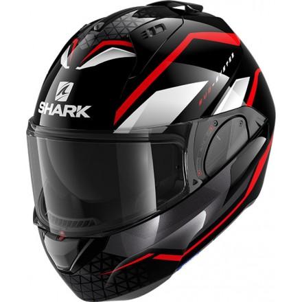 Casco modulare apribile reversibile moto Shark Evo Es Yari nero rosso bianco black red white helmet casque