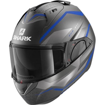 Casco modulare apribile reversibile moto Shark Evo Es Yari antracite blu silver helmet casque