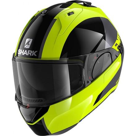 Casco modulare apribile reversibile moto Shark Evo Es Endless giallo nero argento yellow black silver helmet casque