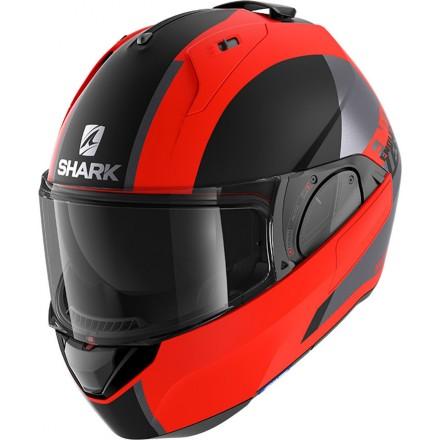 Casco modulare apribile reversibile moto Shark Evo Es Endless arancio nero orange black helmet casque