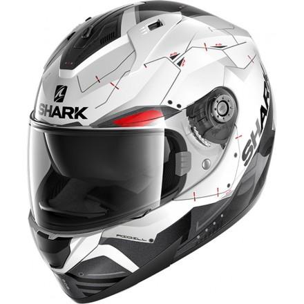 Casco integrale Shark Ridill 1.2 Mecca bianco nero rosso white black red helmet casque