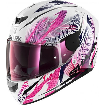 Casco integrale donna moto Shark D-Skwal 2 Shigan bianco nero fucsia white black violet helmet casque