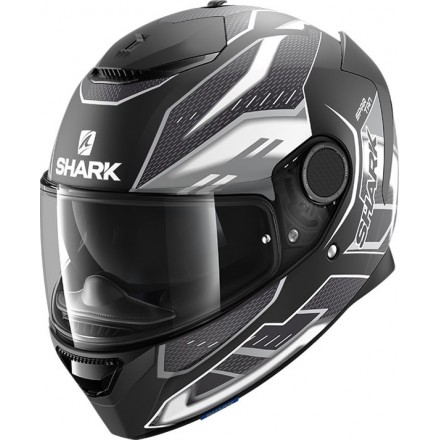 Casco integrale moto fibra Shark Spartan 1.2 Antheon nero opaco bianco mat black white helmet casque