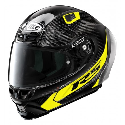 Casco integrale carbonio moto Xlite X803 Rs Ultra carbon Hot Lap giallo fluo black yellow 16 full face helmet casque