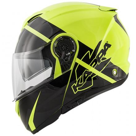 Casco modulare apribile Kappa Kv32 Orlando Linear giallo nero yellow black flip up Helmet