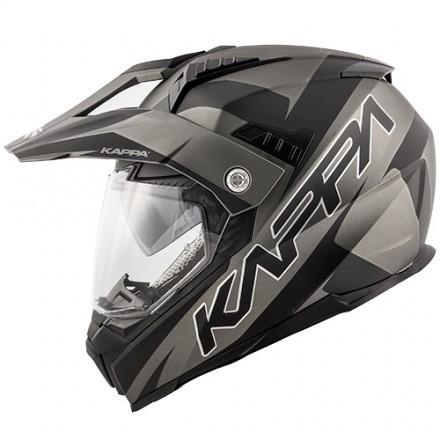 Casco integrale adventure enduro touring moto Kappa Kv30 Flash titanio opaco nero titanium mat black helmet casque