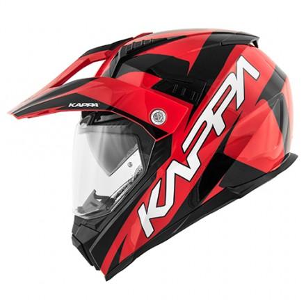 Casco integrale adventure enduro touring moto Kappa Kv30 Flash rosso nero red black helmet casque