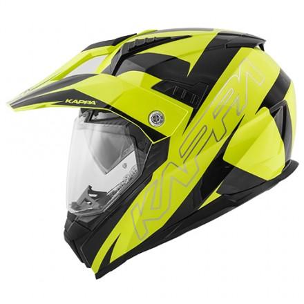 Casco integrale adventure enduro touring moto Kappa Kv30 Flash giallo fluo nero yellow black helmet casque