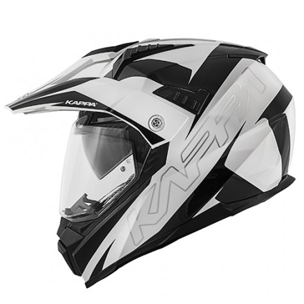 Casco integrale adventure enduro touring moto Kappa Kv30 Flash bianco nero white black helmet casque