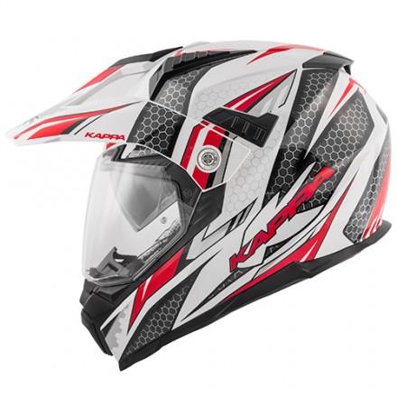 Casco integrale adventure enduro touring moto Kappa Kv30 Ride bianco nero rosso white black red helmet casque