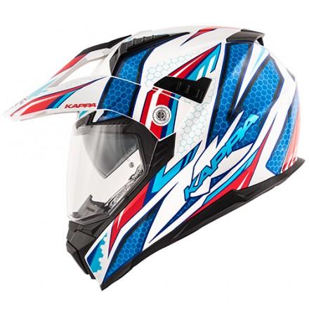 Casco integrale adventure enduro touring moto Kappa Kv30 Ride bianco rosso blu white red helmet casque