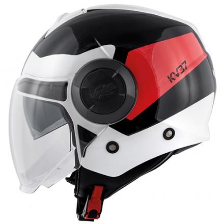 Casco jet con doppio visierino Kappa Kv37 Oregon Zone nero bianco rosso black white red helmet casque