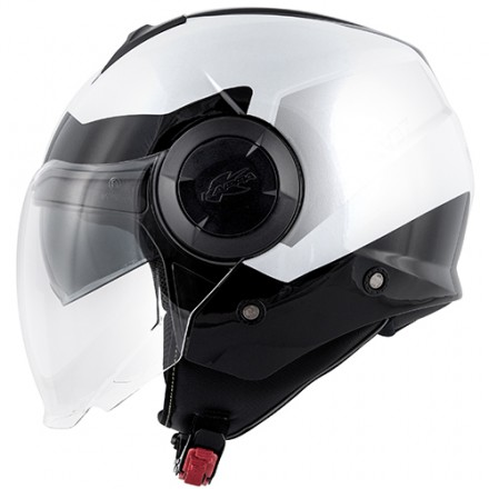 Casco jet con doppio visierino Kappa Kv37 Oregon Zone bianco nero argento white black silver helmet casque