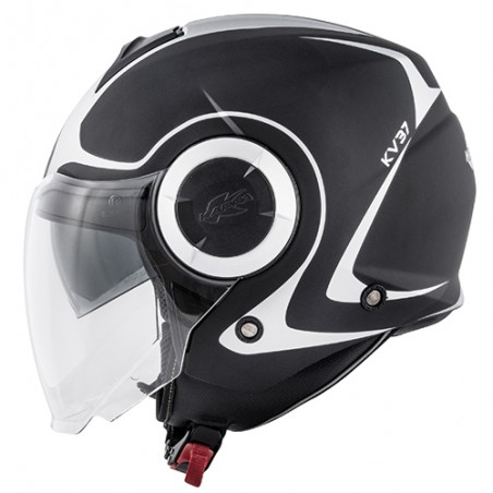 Casco jet con doppio visierino Kappa Kv37 Oregon Twist nero opaco argento black mat silver helmet casque