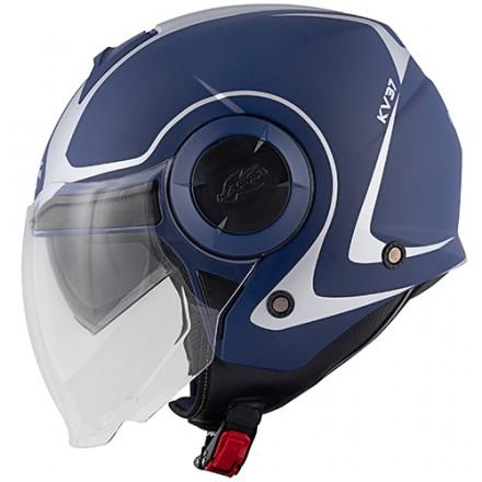Casco jet con doppio visierino Kappa Kv37 Oregon Twist blu opaco mat helmet casque