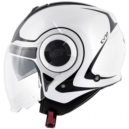 Casco jet con doppio visierino Kappa Kv37 Oregon Twist bianco nero white black helmet casque
