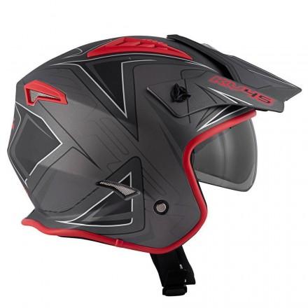 Casco jet moto enduro off road Kappa Kv45 Trial Gemini titanio rosso nero opaco titanium black mat red helmet casque