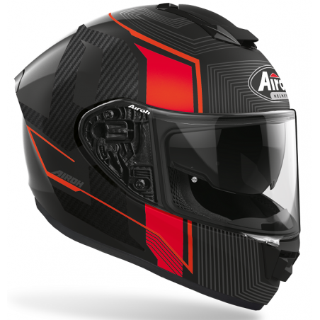 Casco integrale fibra moto Airoh St 501 Alpha nero opaco rosso black red mat helmet casque