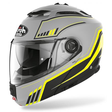 Casco modulare apribile moto Airoh Phantom S Beat giallo fluo yellow mat flip-up helmet casque