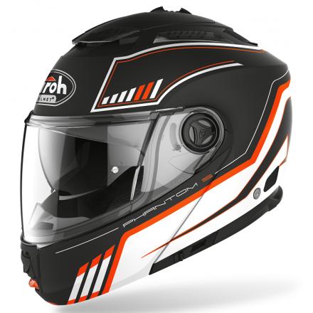 Casco modulare apribile moto Airoh Phantom S Beat arancione orange mat flip-up helmet casque
