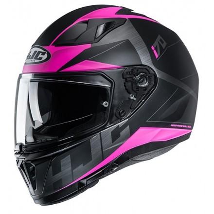 Casco integrale donna moto doppia visiera Hjc i70 Eluma MC8sf nero fucsia black lady woman Helmet casque