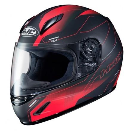 Casco integrale moto donne bambini Hjc CL-Y Taze Mc1SF nero rosso black red lady young helmet casque