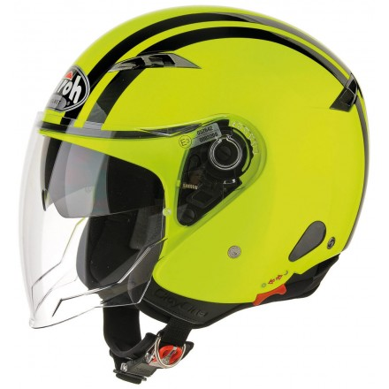 Casco jet moto scooter visiera lunga Airoh City One Flash giallo nero yellow black helmet casque