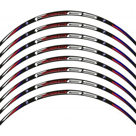 Adesivi cerchi Bmw F650 GS base nero striscie ruota black wheel stickers