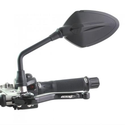 Coppia Specchietti omlogati moto universali attacco a manubrio 10mm mirrors Chaft Story nero black IN545