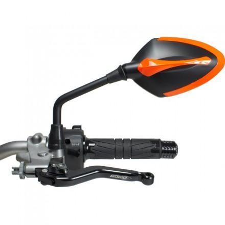 Coppia Specchietti omlogati moto universali attacco a manubrio 10mm mirrors Chaft Story nero arancione black orange IN543