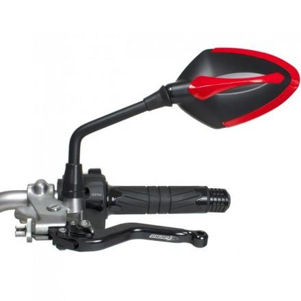 Coppia Specchietti omlogati moto universali attacco a manubrio 10mm mirrors Chaft Story nero rosso black red IN539