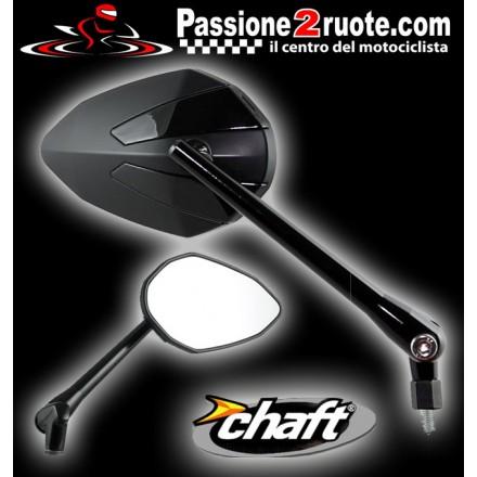 Coppia Specchietti omlogati moto universali attacco a manubrio 10mm mirrors Chaft Crusty nero  black IN425