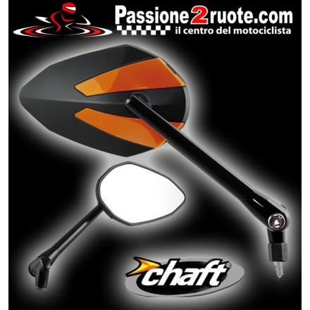Coppia Specchietti omlogati moto universali attacco a manubrio 10mm mirrors Chaft Crusty nero arancione black orange IN425