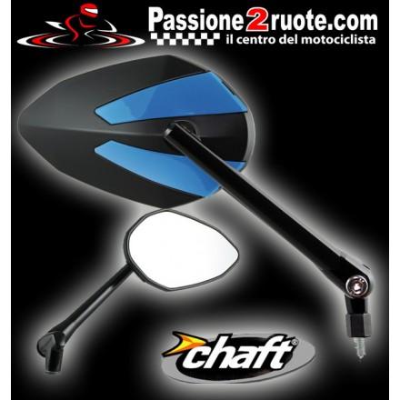 Coppia Specchietti omlogati moto universali attacco a manubrio 10mm mirrors Chaft Crusty nero blu black blue IN425