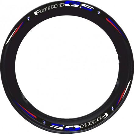 Adesivi cerchi Bmw F800 GS base nero striscie ruota black wheel stickers