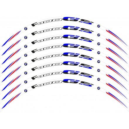 Adesivi cerchi Bmw F800 GS base bianco striscie ruota white wheel stickers