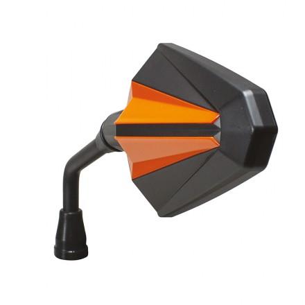Coppia Specchietti moto universali omologati attacco a manubrio Chaft Glory nero arancione black orange IN400 mirrors