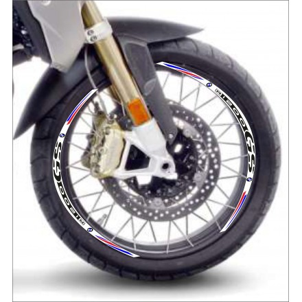 Adesivi cerchi Bmw R1200 GS base bianco striscie ruota white wheel stickers