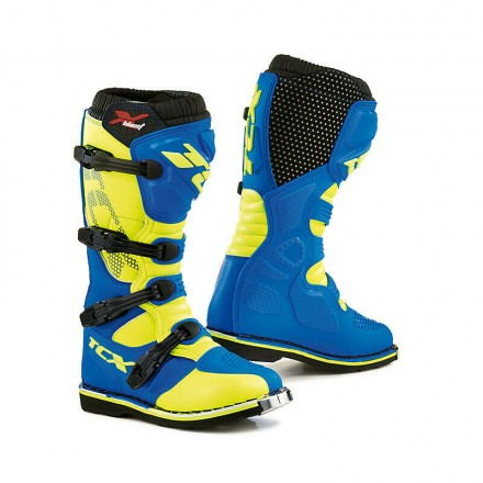 Stivali moto cross enduro motard Tcx X-blast blu giallo yellow off road mx boots