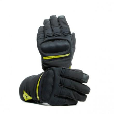 Guanti moto corti impermeabili Dainese Avila D-dry short nero giallo black yellow waterproof gloves