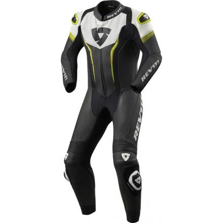 Tuta intera pelle racing pista corsa sport Revit Argon Nero bianco giallo black white yellow one piece leather suit