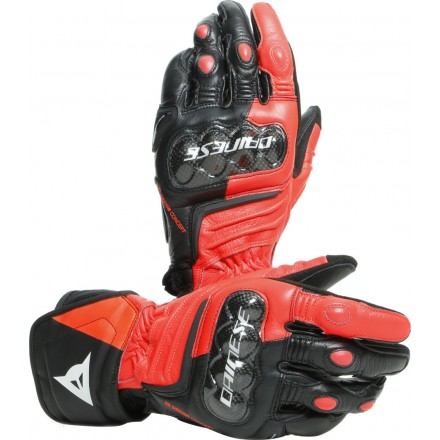 Guanti pelle lunghi moto racing pista corsa Dainese Carbon 3 Long nero rosso bianco Black red fluo white leather gloves